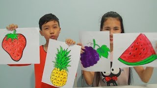 Kids Learn Draw and Coloring Fruit Grapes, Watermelon Education activities video for kids