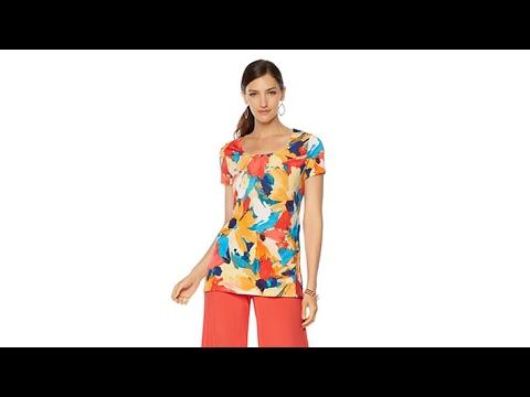 Slinky Brand 2pk ShortSleeve Print and Solid Tunics