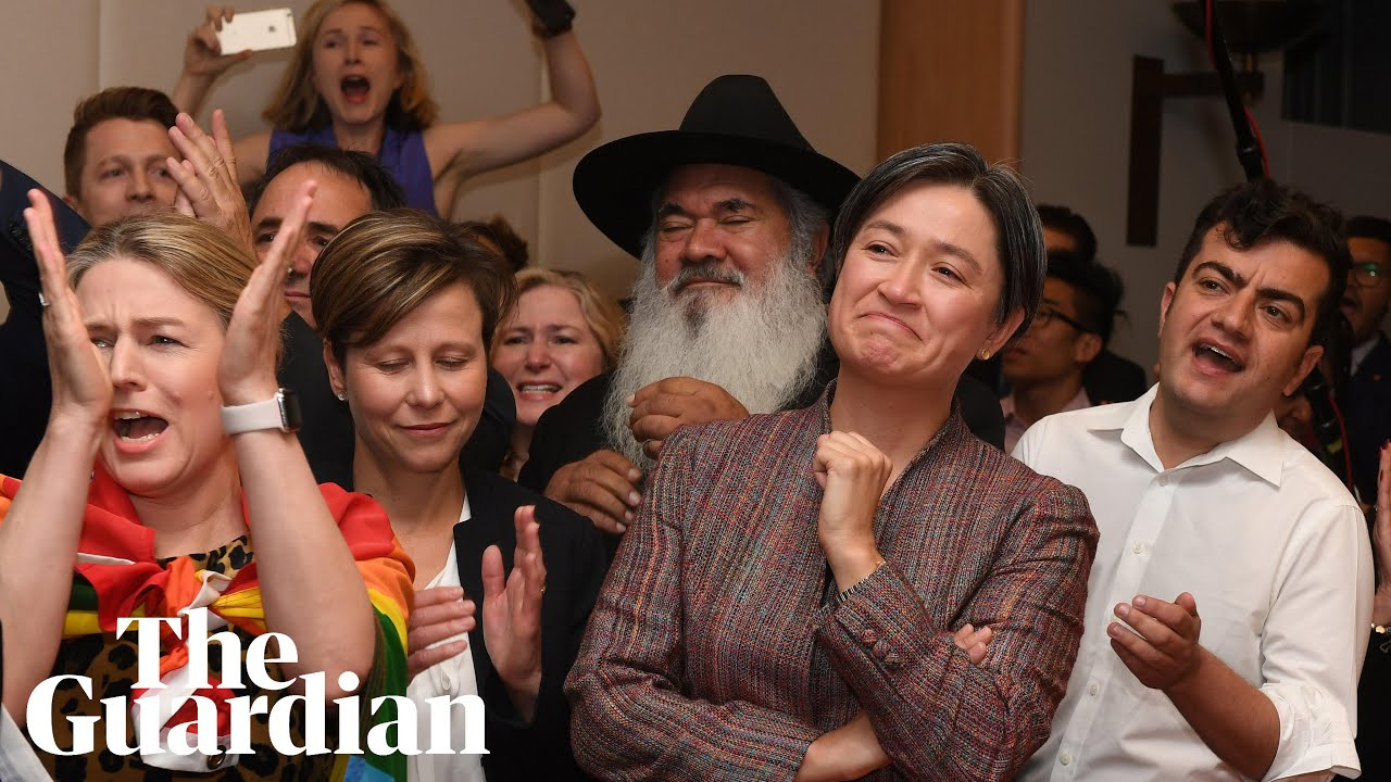 Penny Wong bursts into tears as same-sex marriage result is announced