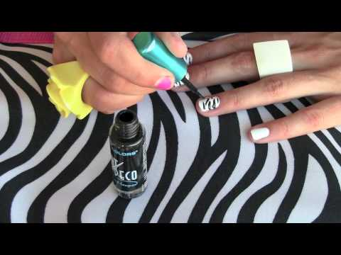 How To - Zebra (animal print) nail art (manicure / pedicure) Video