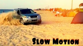 Ford Escape Hybrid in the Beach - Slow Motion...