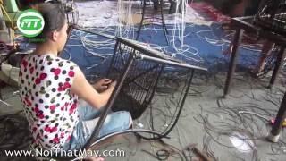 Hướng dẫn đan bộ bàn ghế nhựa giả mây MT268 tại xưởng đan mẫu Minh Thy Furniture