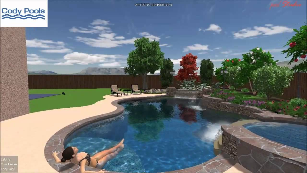 Contemporary, tropical pool, spa, waterfall modern grotto backyard