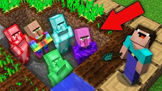 Minecraft NOOB vs PRO: WHY THIS RAREST VILLAGERS HIDE UNDER FARMLAND FROM NOOB? 100% trolling