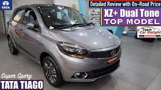 Tata Tiago XZ+ Dual Tone Top Model Detailed Review with On Road Price | Tiago xz+