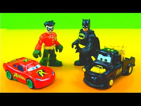 Imaginex Batman & Robin get captured by The Joker , Penguin Riddler custom McQueen Mater Saves him