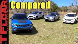 2017 Jeep Compass vs Subaru Crosstrek vs Hyundai Tucson vs Kia Sportage Mashup Review