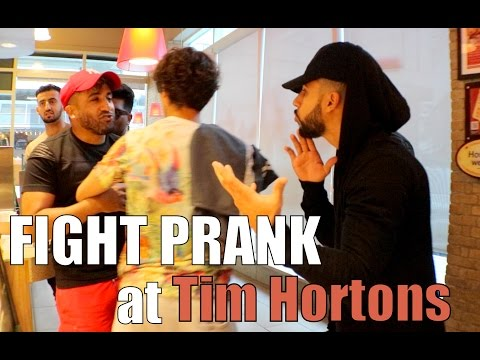 FIGHT PRANK AT TIM HORTONS!!! (PRANKED THE WORKERS)