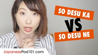 "What's the difference between ""So Desu Ka"" and ""So Desu Ne""? - Japanese Grammar"