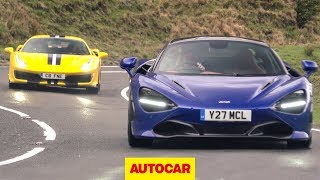 Ferrari 488 Pista v McLaren 720S on the road ... in the wet | Supercar review | Autocar
