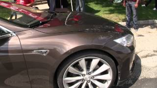 Walk around the brown Model S in the sun