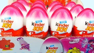 12 Surprise Eggs made for girls Kinder Joy Pink Winx Club Surprise Toys