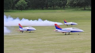 3 X TOMAHAWK FUTURAS RC SPORTS JETS DISPLAY AT WESTON PARK - 2017