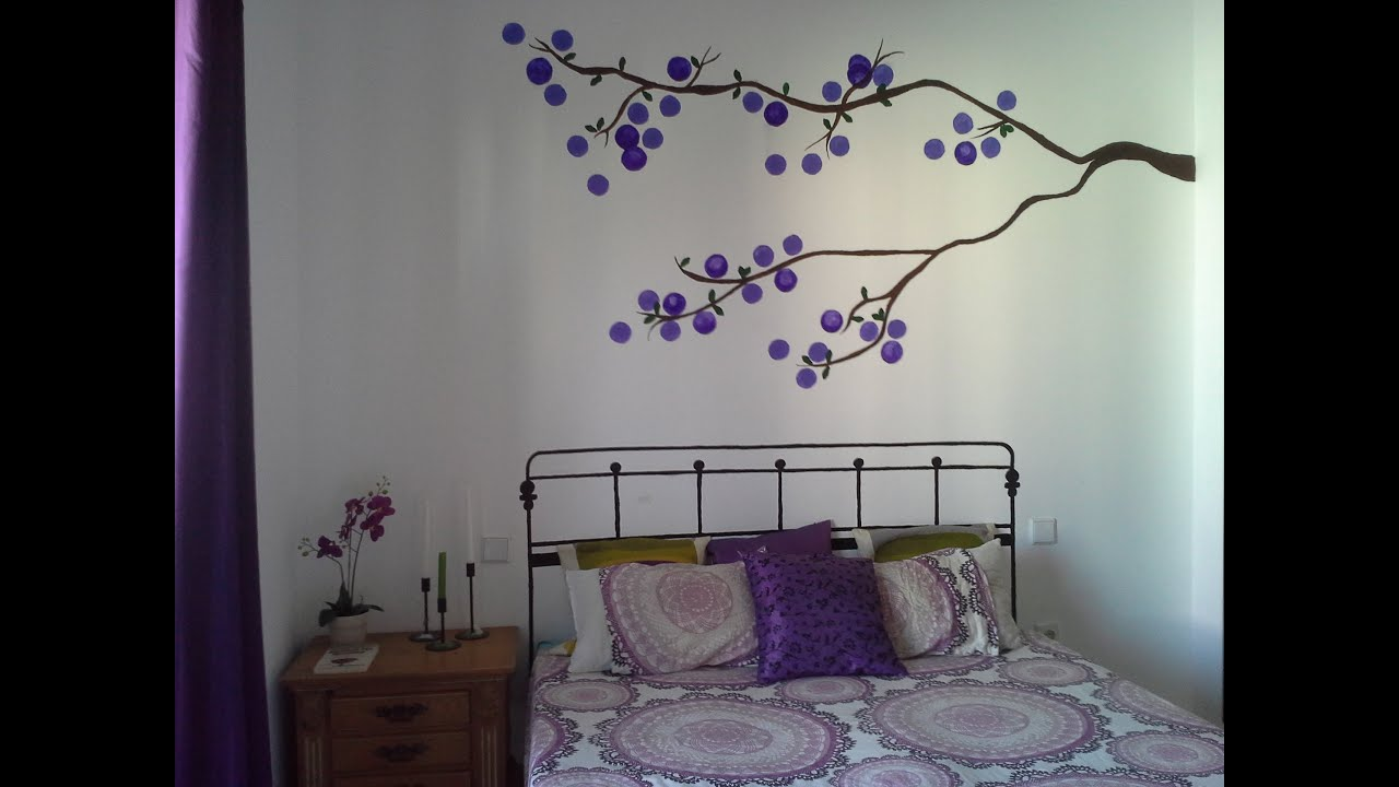 Diy arbol y cabecero pintado en pared youtube - Pared decorada con fotos ...
