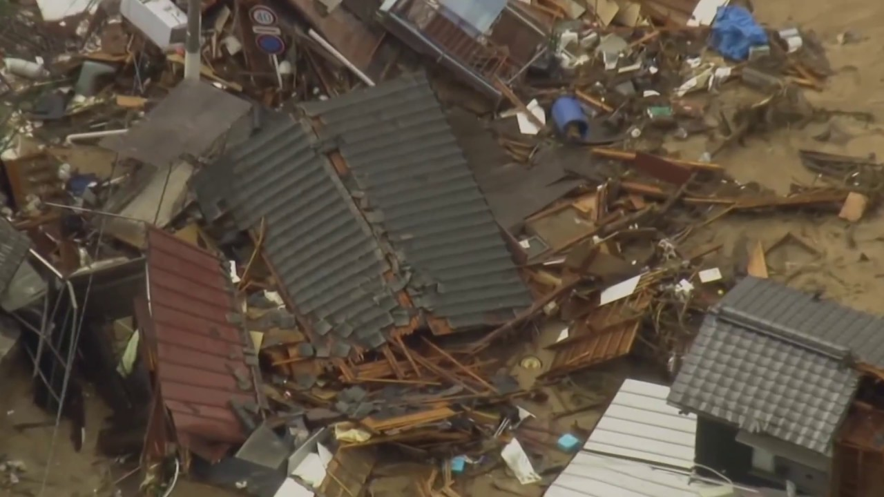 Aerial shots show Japan flood devastation