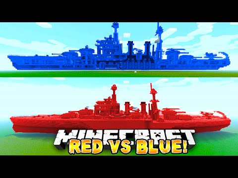 Minecraft - RED VS BLUE BATTLE SHIP! #1 - w/ Preston & Woofless