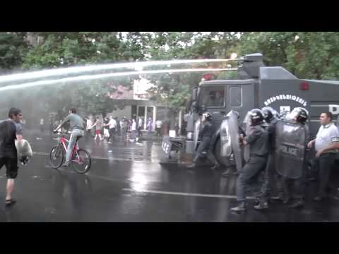 Armenian Police Fire Water Cannons at Protesters in Yerevan