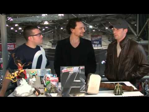Tom Hiddleston and Chris Evans at the New York Comic-Con 2011.