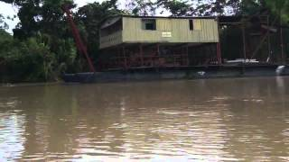 Dredges for alluvial gold mining on Maranon River, Peru