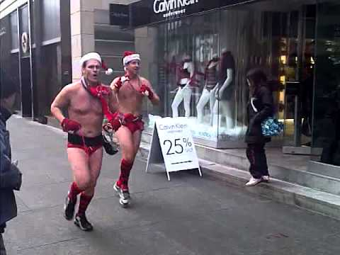 naked xmas jogging group-Bloor st, TO