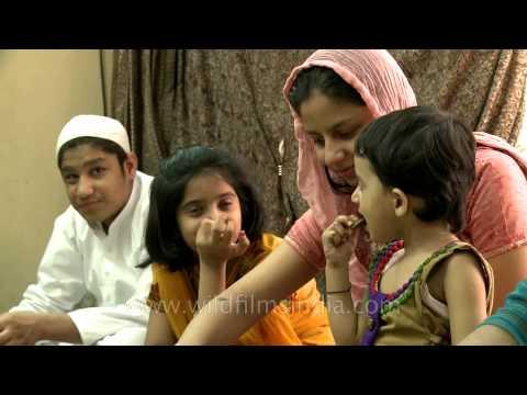 A muslim family celebrates Eid al-Adha