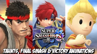 Super Smash Bros for Wii U - Ryu, Roy and Lucas Final Smash, Victory Animations and Taunts
