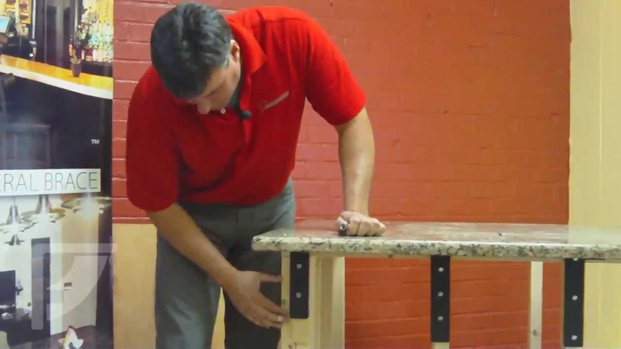 How to install freedom countertop brackets for an for Granite countertops support requirements