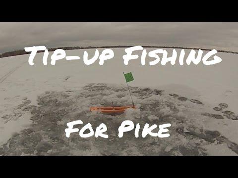 Minnesota Ice Fishing 2015 - Tip up fishing for Pike