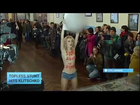 Ukraine Local Elections: Topless FEMEN protester stuns Kyiv mayor Klitschko