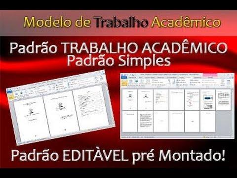 Modelo de Trabalho Acadêmico PADRÃO SIMPLES ABNT
