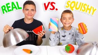 REAL FOOD VS SQUISHY FOOD CHALLENGE ! - Vraie nourriture ou Squishies ?