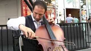 MY WAY Pietro Nicassio from Italy on Cello at Fremont Street Las Vegas NV.