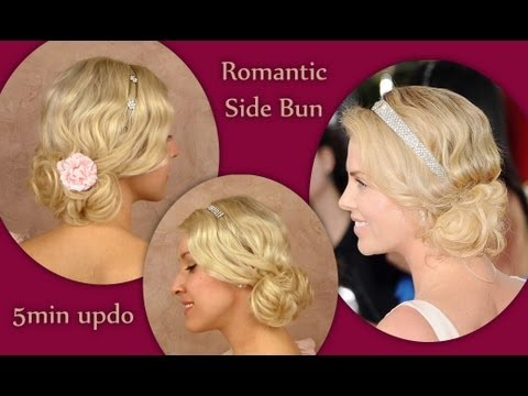Wedding prom updo hairstyle for medium shoulder length hair tutorial Charlize Theron