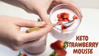 Keto Strawberry Mousse - 5 ingredients Low Carb Dessert - LowCarbSpark
