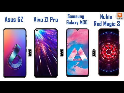 5,000 mAh battery test: Vivo Z1 Pro vs Asus 6Z vs Nubia Red Magic 3 vs Galaxy M30: [Hindi-हिन्दी]