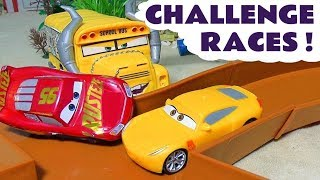 Cars Lightning McQueen Race Challenges with Hot Wheels Superheroes and Thomas Trains TT4U