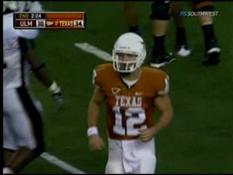 Texas Longhorn Colt McCoy's 78 yard TD Bomb To Jordan Shipley! Video