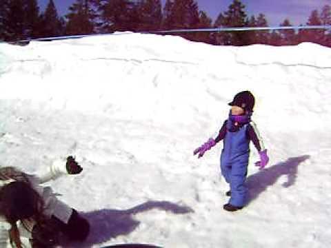 Jacob throwing snowballs at Kylie, Big Bear, CA