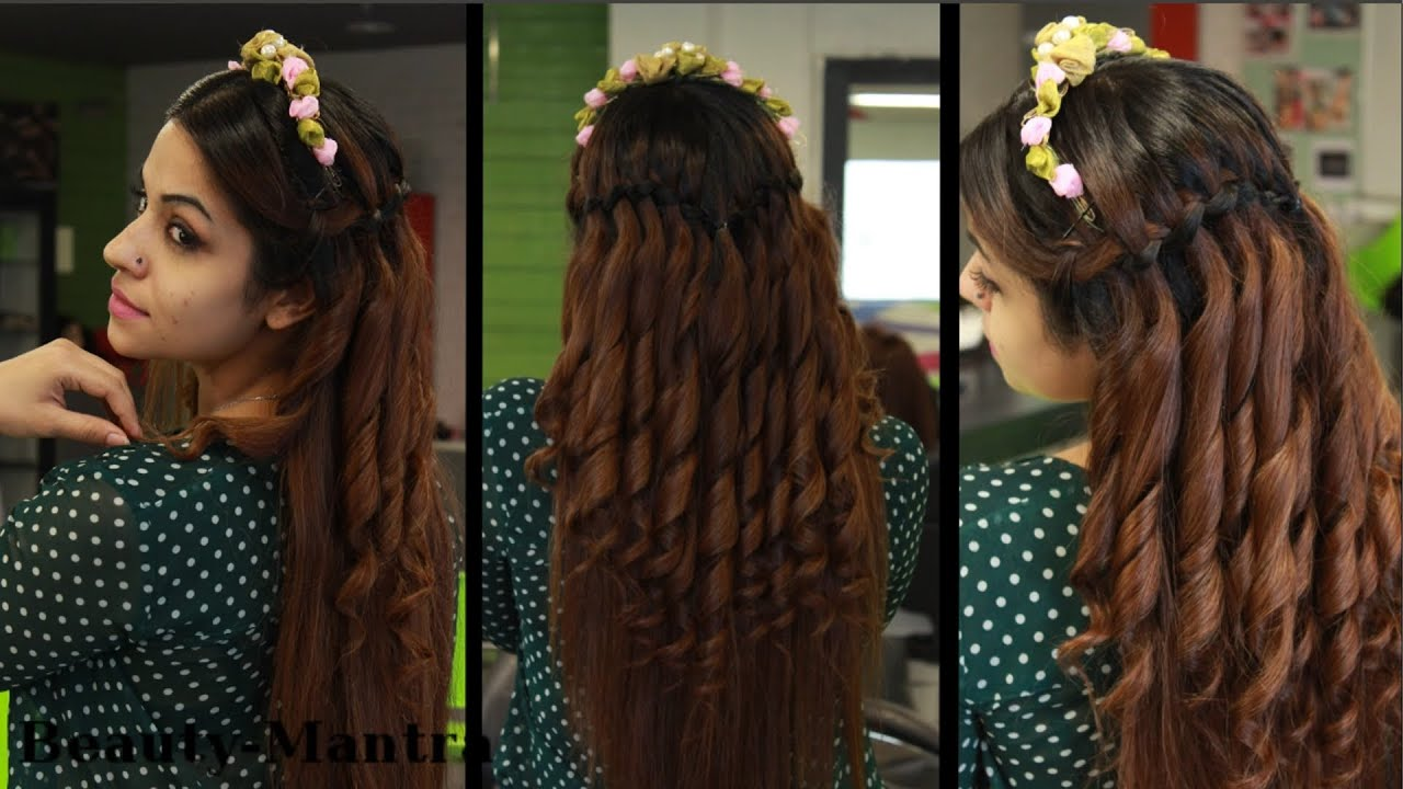 Simple Wedding Hairstyle For Long Hair (Waterfall) - YouTube