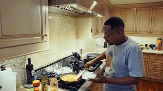 Martin Lawrence in the kitchen cooking his favorite dish spaghetti