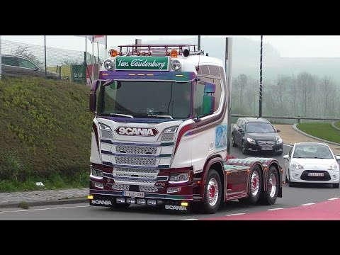 Truckshow Ciney 2017 with new Generation Scania V8, open pipes sound 4K UHD