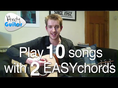 Absolute beginners first guitar lesson- Two easy chords, easy songs Music Videos