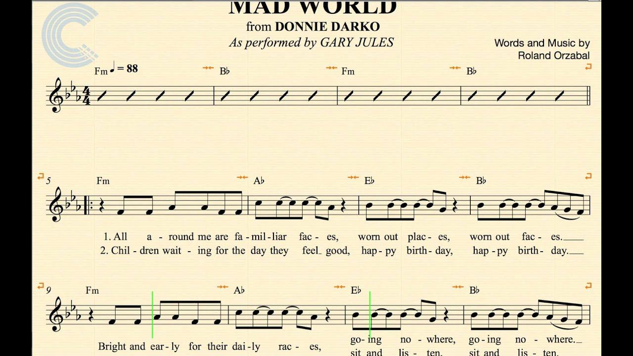Mad world (gary jules michael andrews): для гитары с табулатурой by roland orzabal