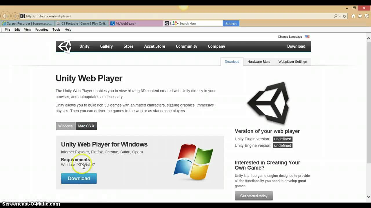 unity web player games free download