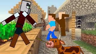 Защита  деревни Minecraft Рисуем мультфильмы 2