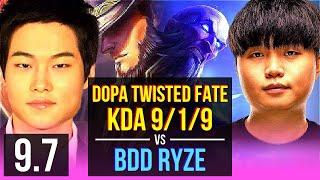 Dopa TWISTED FATE vs Bdd RYZE (MID)   KDA 9/1/9, Dominating   Korea Challenger   v9.7