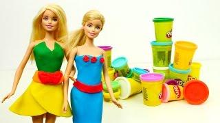Barbie giyim oyunu. Play Doh hamurdan kıyafetler