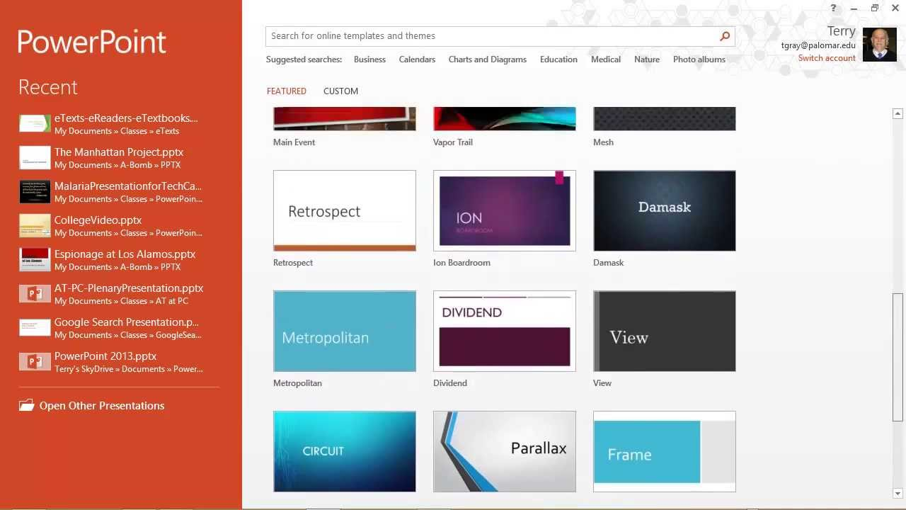 powerpoint 2013  templates  themes  u0026 the start screen