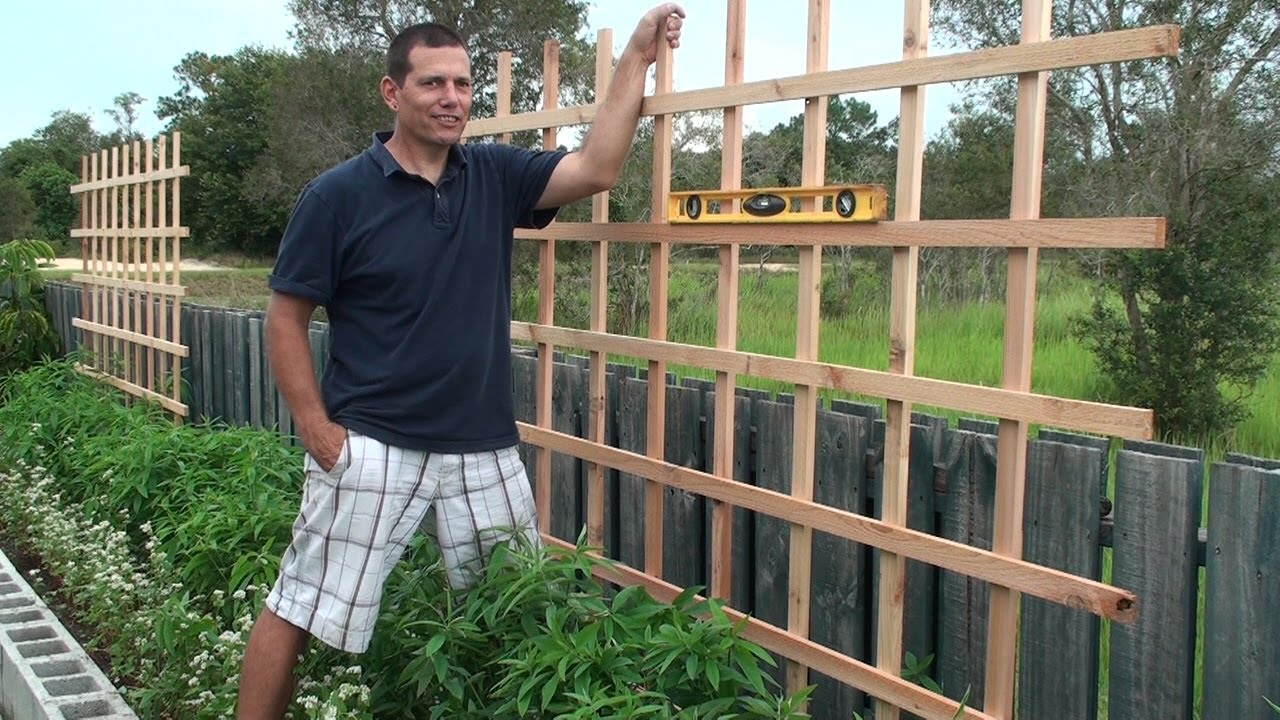 Building a trellis for our raised bed youtube How to build a trellis