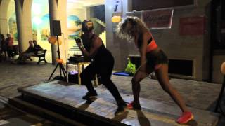 Zumba night class in the street